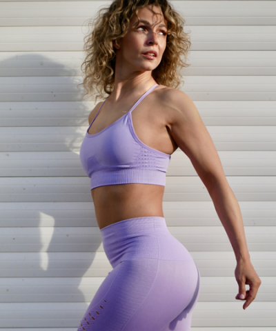 Lilac Leggings and Sports Bra Set