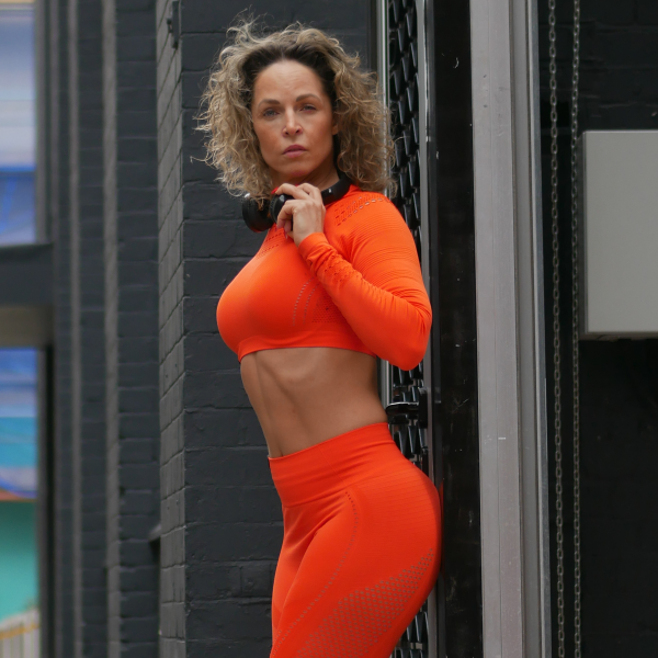 Orange Leggings and Sports Bra Set